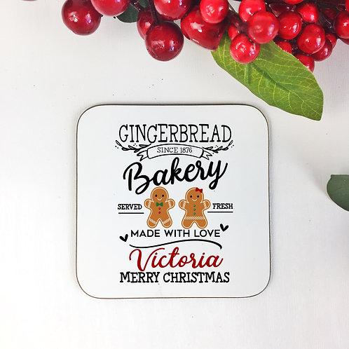 Personalised coaster Gingerbread design