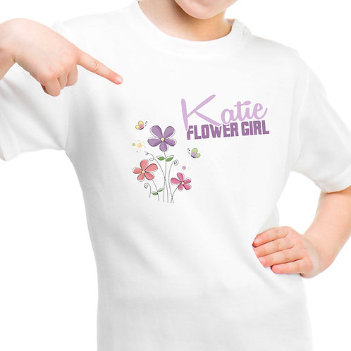 Personalised Flower Girl Floral T Shirt