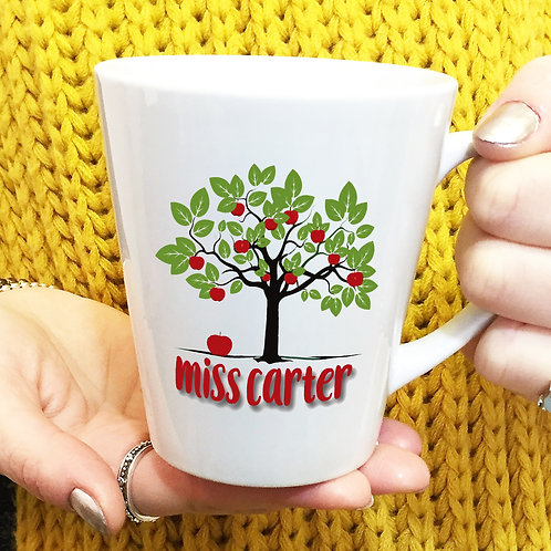 Apple Tree Personalised Teacher Latte Mug