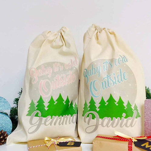 "2 x Personalised Christmas gift bag "" BABY IT'S COLD OUTSIDE """
