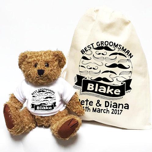 Groomsman Wedding Teddy Bear Gift Moustache