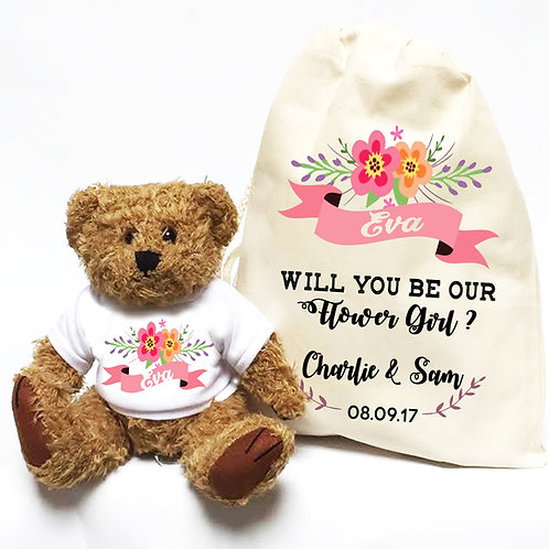Will you be our Flower Girl ? Teddy bear and bag