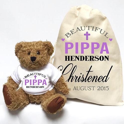 Christening gift teddy bear for little Girl.