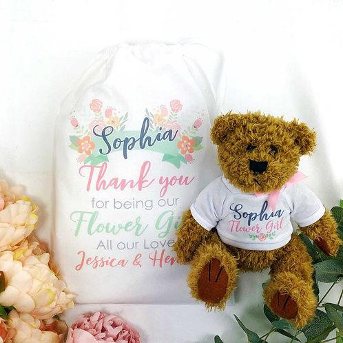 Flower Girl Teddy Bear Thank You Wedding Gift In White bag