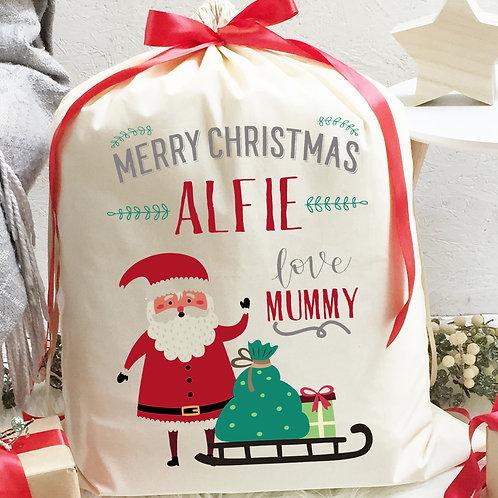 Personalised Cotton Christmas Sack | Santa and Sleigh