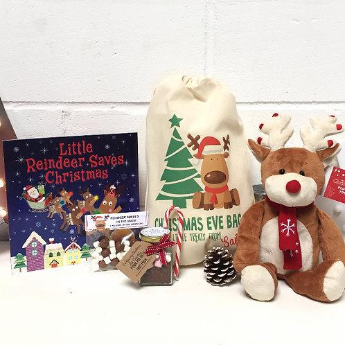 Reindeer pre filled christmas eve gift bag.