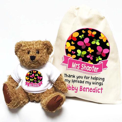 Personalised Teacher Bear Butterflies & Banner