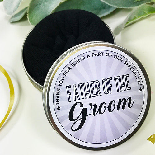 Tin of Socks Father of the Groom Wedding Morning Gift