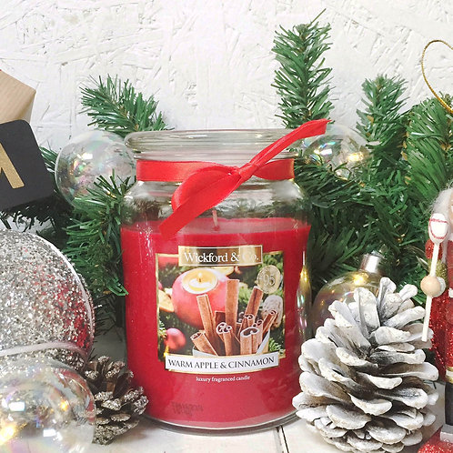 Large jar candle Christmas scent Mulled Wine, Warm Apple & Cinnamon, Gingerbread