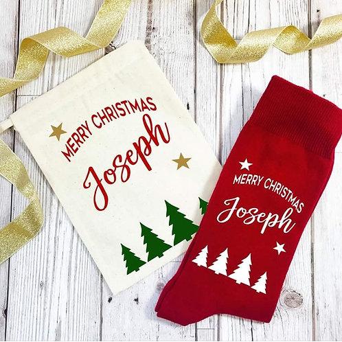Christmas socks in gift bag