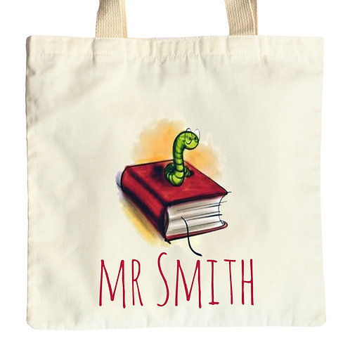 Bookworm Teacher Tote Bag