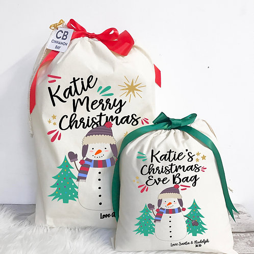Snowman Christmas Eve Bag and Sack