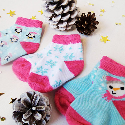 Pack of 3 Baby Christmas socks 0-6 months