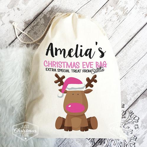 Christmas eve bag pink reindeer design