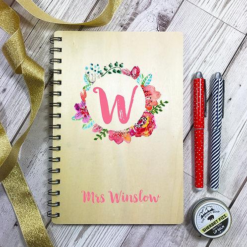 Wooden Teacher Notebook Personalised Monogram Gift Set