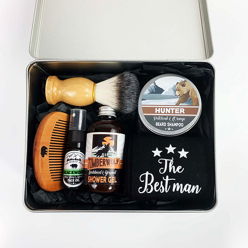 Best Man Metal Tin Filled with Wedding Beard Grooming Kit