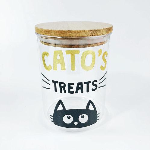 Personalised Cat treat pot.