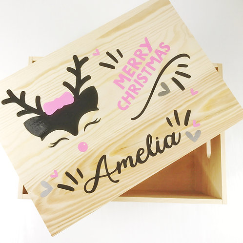 Christmas Eve Wooden Box 31cm Pink Personalised