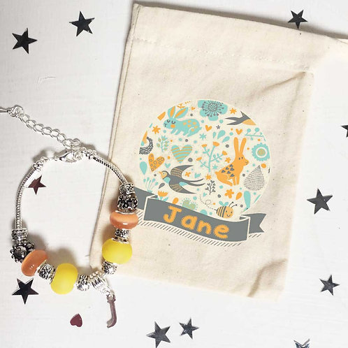 Teacher Woodland Charm Bracelet + Bag