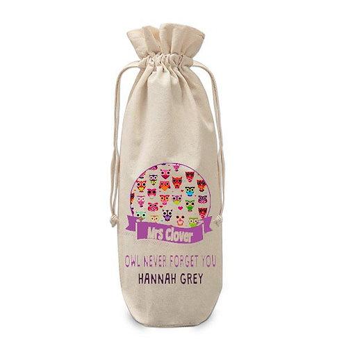 Personalised Teacher wine bottle bag Owls