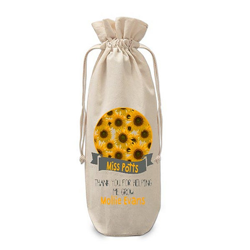 Personalised Teacher wine bottle bag Sunflowers