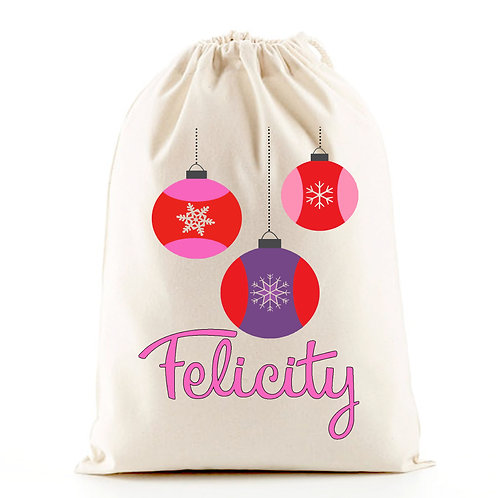 Gift bag for Christmas santa sack baubles.