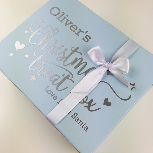 Personalised Christmas Eve treat box in blue