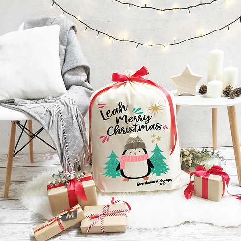 Personalised Cotton Christmas Sack | Penguin