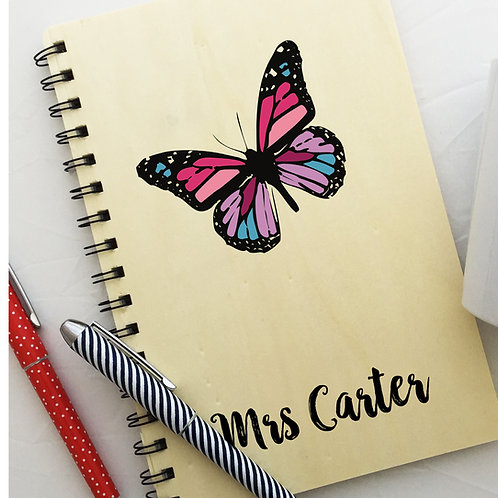 Colourful Butterfly Wooden Notebook Teacher Gift