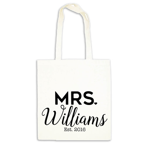 The new Mrs wedding day tote bag.