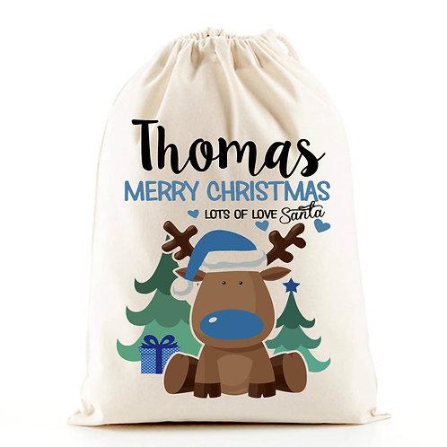 Personalised santa sack blue boy reindeer.