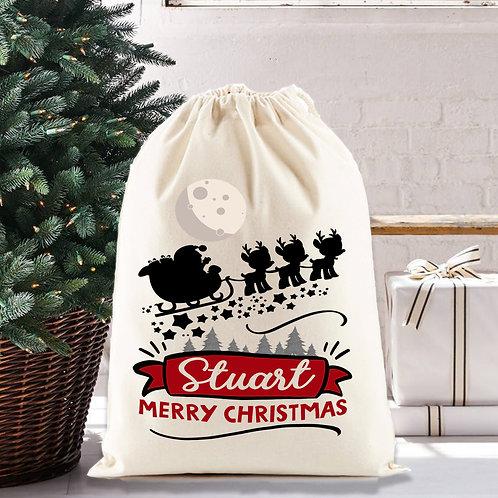 Santa and his sleigh, santa sack, personalised for Christmas.