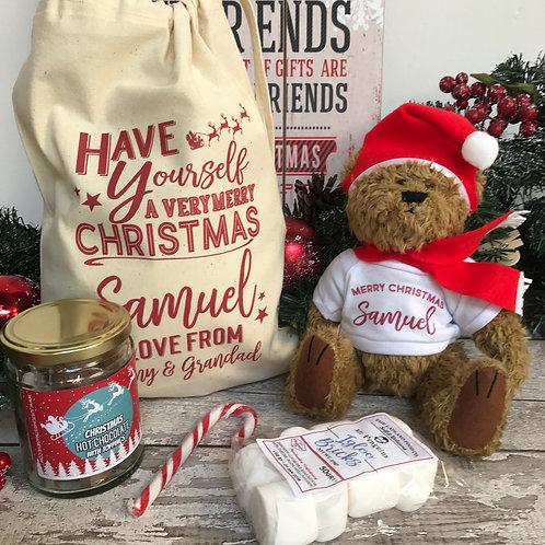 Personalised Christmas Bear  & Hot Chocolate Gift