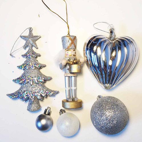 Silver glittery Nutcracker Christmas tree decoration gift set