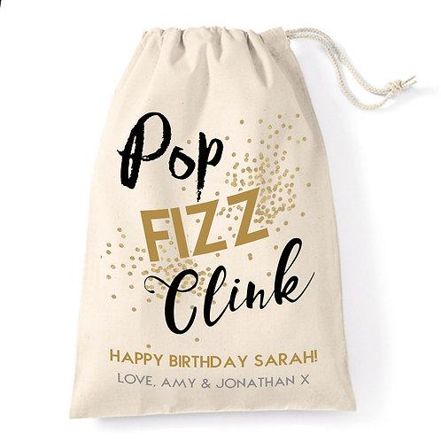 Birthday Girl gift bag, pop, fizz, clink.