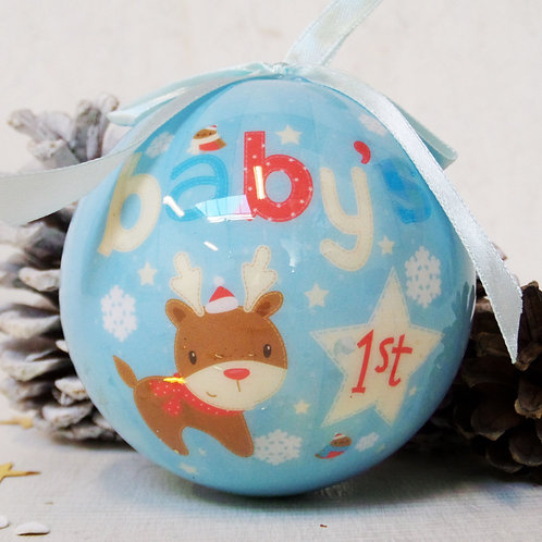 Baby's First Christmas blue bauble tree decoration