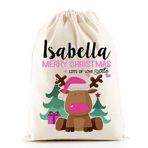 Personalised girl santa sack pink reindeer.