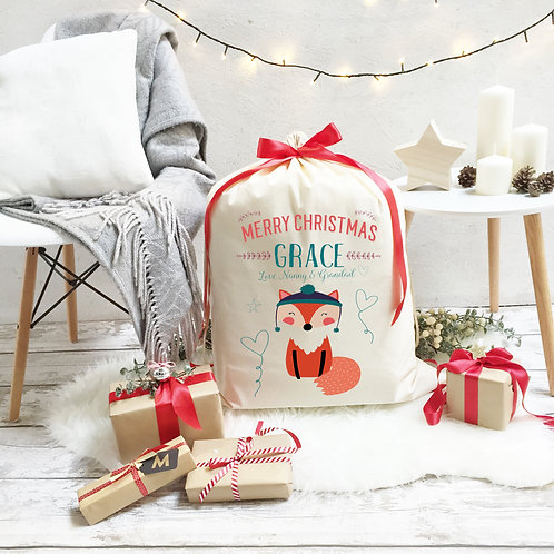 Personalised Cotton Christmas Sack | Fox