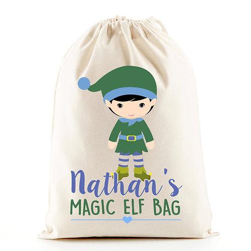 Elf boy Christmas gift bag sack.