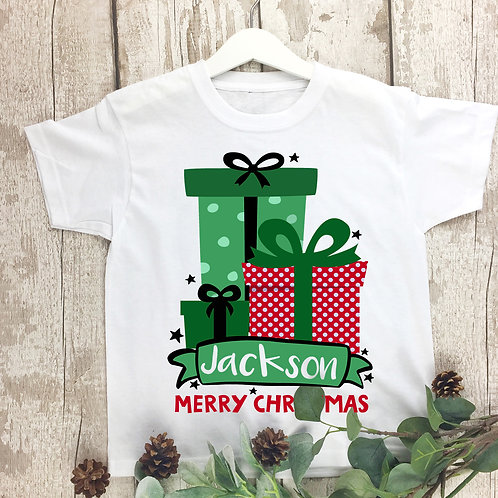 Christmas t shirt, personalised cute gift box design