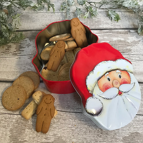 Santa biscuit tin full of yummy Christmas biscuits