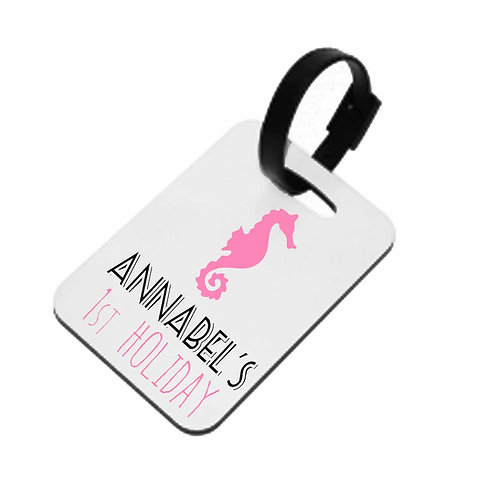 Seahorse Baby 1st Holiday Luggage Tag
