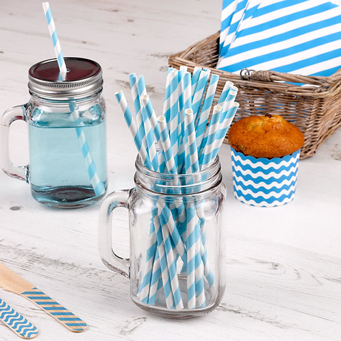 Baby blue stripe paper straws.
