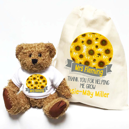 Personalised Teacher Bear Sunflowers