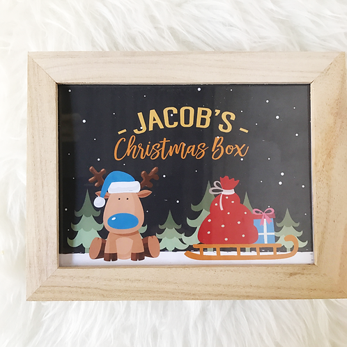 Blue Reindeer Christmas Box Personalised
