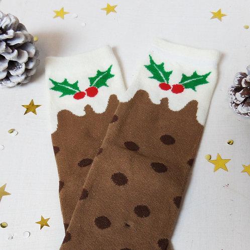 Christmas pudding socks ladies one size