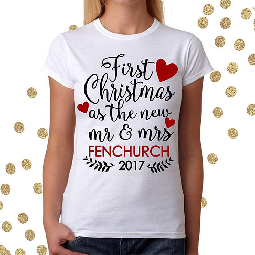 Personalised First Christmas t shirt for the New Mrs