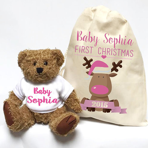 Christmas Teddy bear gift for little girl.