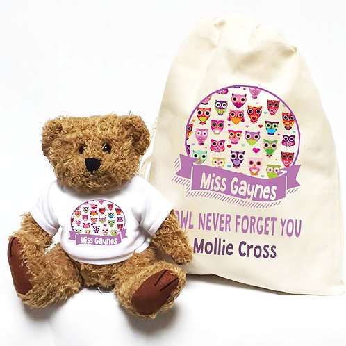 Personalised Teacher Bear Owl Never Forget You