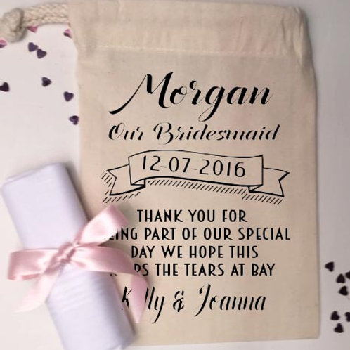 Bridesmaid Pre Filled cotton bag and handkerchief